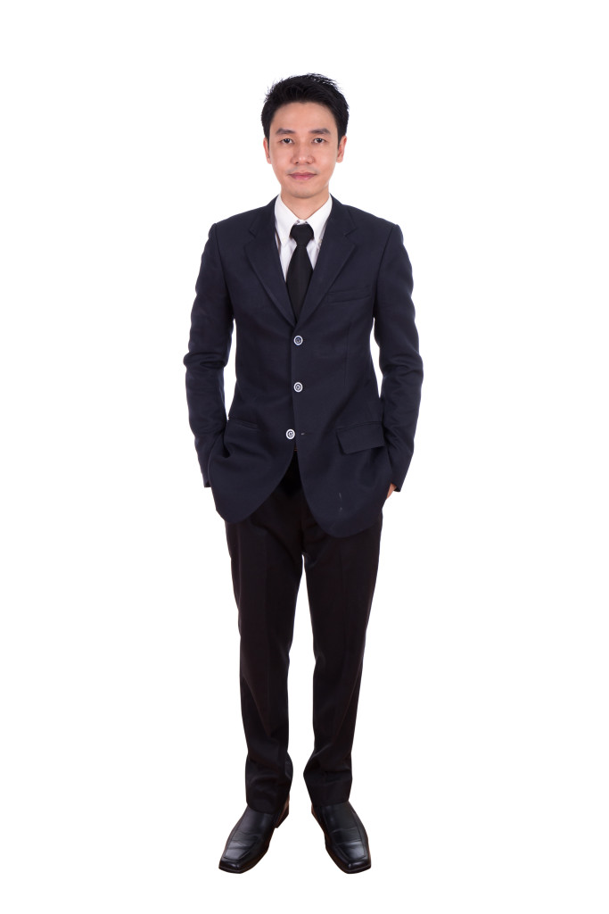 business man, full length isolated on white background.